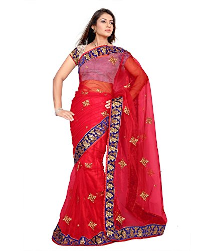 Yuvati Sarees Border Work Saree (9014_Red)