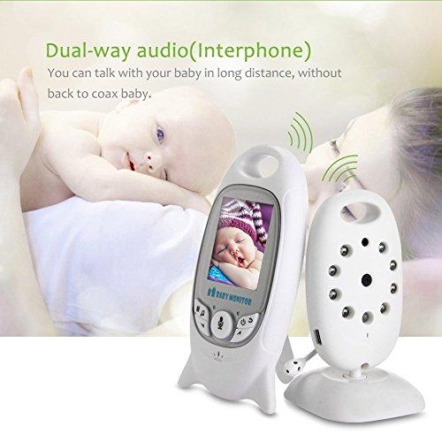 COSANSYS Babyphone mit Kamera,video babyphone, Wireless Video baby Monitor 2 Zoll LCD 2.4GHz Digital Baby Überwachung Digitalkamera mit Temperatursensor Schlaflieder Nachtsicht Gegensprechfunktion EU Plug (2.0 ZOll, weiß) - 3