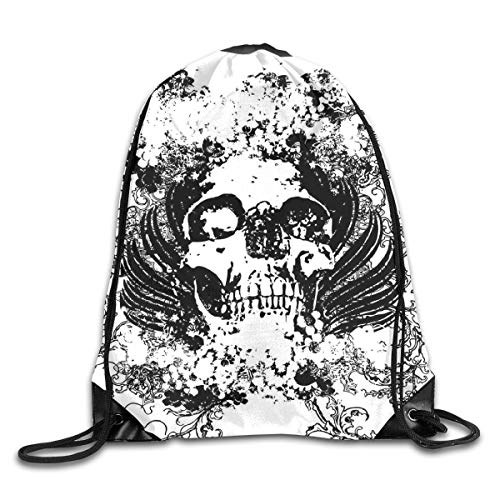 HLKPE Drawstring Backpacks Bags Daypacks,Scary Skull In Grunge Sketch Dead Themed Dark Horror Evil Illustration Image,5 Liter Capacity Adjustable for Sport Gym Traveling