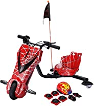 Toy&Joy Drifting Electric Scooter Red with Helmet Pad Set, Knee and Elbow Pads 36V,
