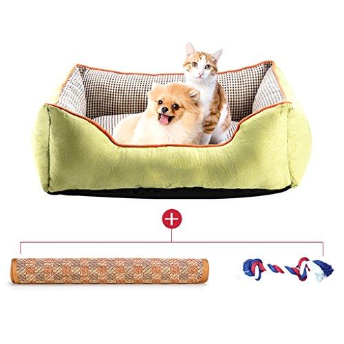 PETBED Mezie-Katze des Hundes des entfernbar und waschbar Vier Jahreszeiten ApplySmall Cane Bett Mat Dog Room, Grün, 100 x 70 cm -