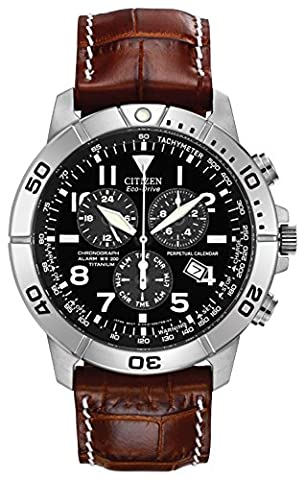 Citizen Eco-Drive Men's Watch with Brown Dial Chronograph Display and