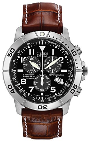 Citizen-Eco-Drive-Mens-Watch-with-Brown-Dial-Chronograph-Display-and-Brown-Leather-Strap-BL5250-02L