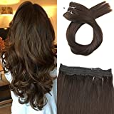 Moresoo 20zoll/50cm Brasilianer Human Hair Extensions Hairpieces Mittel Braun #4 Flip on Echthaar Extensions 100g