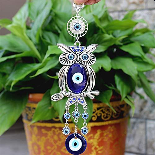 Studyset Home - Colgante de Cristal con diseño de búho, Estilo Turco, para Colgar en la Pared, diseño de Ojos Azules