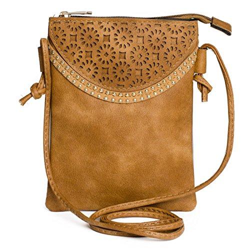 Kandharis Damen Umhängetasche Schultertasche Minibag Ethno CrossOver Tasche mit Nieten Blumen CutOut Muster GB-10 Braun