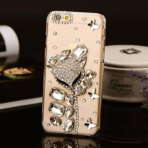 Pour Coque iPhone SE , iNenk® Dur PC luxe diamant Tête renard téléphone Shell manchon protection mode perle couvercle Transparent Créatif pour femmes-violet Argent