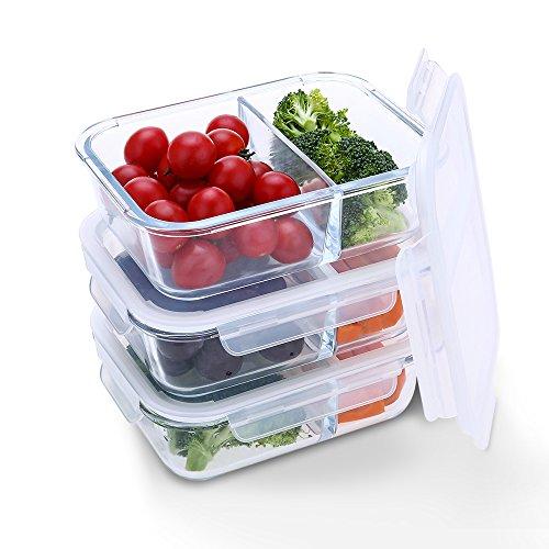 Homgeek Frischhaltedosen 3-teiliges Glas Lunchbox (3x 950ml), 2 Abteil, 100% BPA-frei, Gefrierschrank, Backofen, Geschirrspüler & Mikrowelle Safe Glaslagerung
