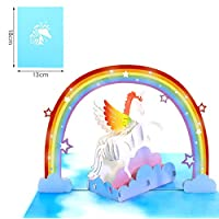 Meiyaa Pop-Up 3D Greeting Card, Creative 3D Stereo Handmade Unicorn Rainbow Papercraft Birthday Card all Occasion Greeting Cards