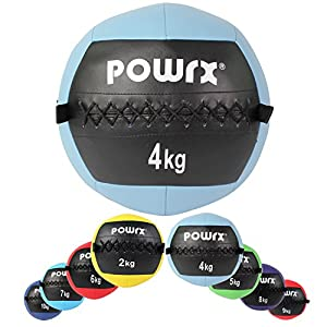 POWRX Wall ball palla medica 2-10 kg - (4 kg/Celeste)