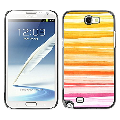 GooooStore/Dura Custodia Rigida della copertura della cassa - Yellow Sunset Summer Peach Lines - Samsung Galaxy Note 2 N7100 - 2 ° Fast Peach