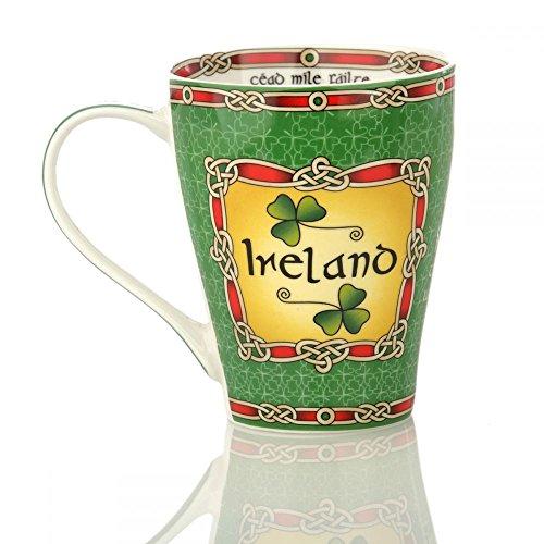 Eburya Ireland Shamrock Mug - Kaffeebecher aus Keramik mit irischen Kleeblättern