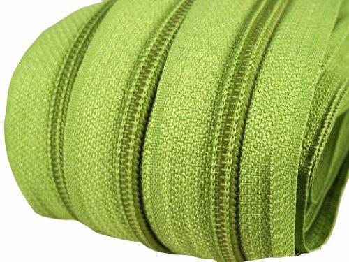 Cremallera, 2 m, 5 mm de ancho, incluye 5 cursores, divisible, varios colores para elegir, poliéster, verde, 2 m