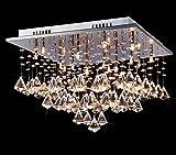 Saint Mossi Modern K9 Crystal Raindrop Chandelier Lighting Flush mount Ceiling Light Fixture Pendant Lamp for Dining Room Bathroom Bedroom Livingroom Square Shape Height 29 cm x Width 46 cm