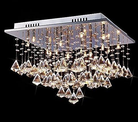 Saint Mossi (® de luxe lustre moderne grand cristal en verre transparent goutte de pluie Encastré Plafonnier dans une finition Chrome Forme carrée