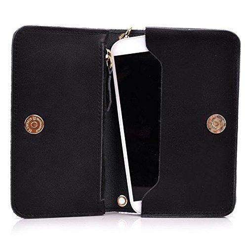 Kroo Pochette Cou en cuir fait avec dragonne pour Smartphone 12,7cm lame Housse de transport pour ZTE Imperial II/S6 Beige - peau noir - noir