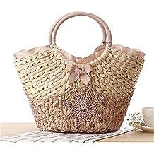 Bolsa De Playa Big Straw Totes Bag Bolsos De Viaje Hechos A Mano De Mujeres Tejidas
