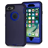 Xylo® Dual Protect Heavy Duty Dust/Shock Proof Case Cover For Apple iPhone 8, 7, 6S & 6 With Built In Screen Protector - Blue
