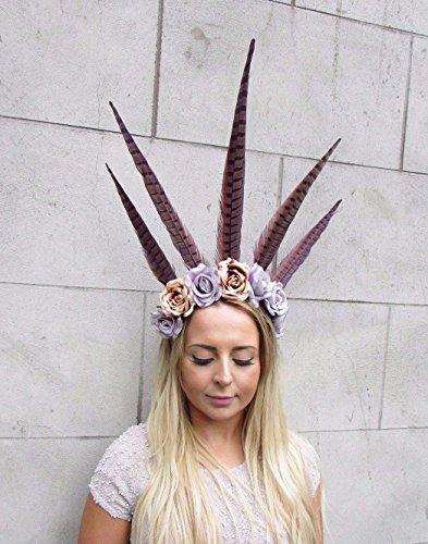 Karneval Kopfbedeckungen (Starcrossed Boutique Festival lila Feder Blume Stirnband Karneval Kopfschmuck Kopfbedeckung Rose)