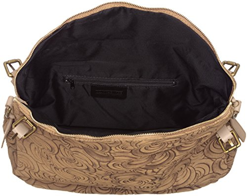 CTM Elegante Handtasche der Frau, Tasche auf Italienisch echtem Wildleder in Italien mit geometrischen Mustern hergestellt 40x30x15 Cm Grau (Fango)
