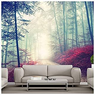 azutura Magical Red Road Wall Mural Misty Forest Tree Photo Wallpaper Living Room Decor available in 8 Sizes Medium Digital