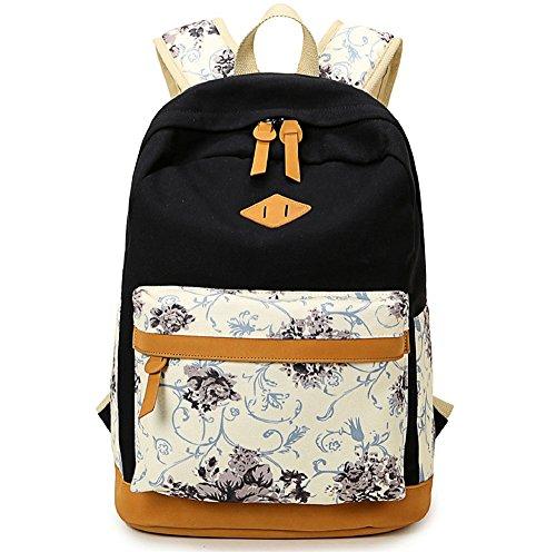 Blume gedruckten Casual Canvas Laptop Tasche Schule Rucksack leichte Rucksäcke für Teen junge Mädchen Schwarz