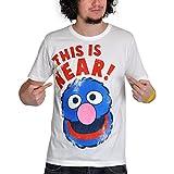Barrio Sésamo - camiseta de Coco cerca y lejos - tejido elástico, estampado retro de Coco, con la licencia oficial de la serie de culto, blanco crema - S