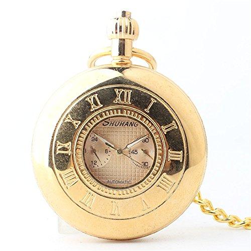 Sunbobo mens pocket watch orologio da taschino meccanico di numeri romani dello studente dell'orologio tascabile d'oro unisex con catena per regalo regalo, ringraziamento, festa del papà