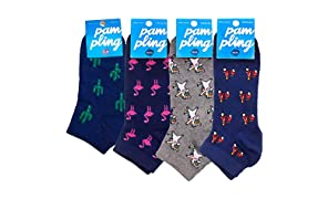 Pack 4 Paires de Chaussettes Courtes Originales - Cactus, On Road, Flamingo, Dabbing Unicorn
