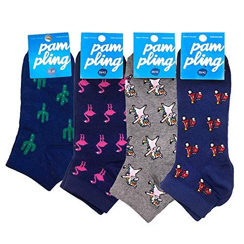 Pack 4 Calcetines Cortos Originales - Cactus, On Road, Flamingo, Dabbing Unicorn