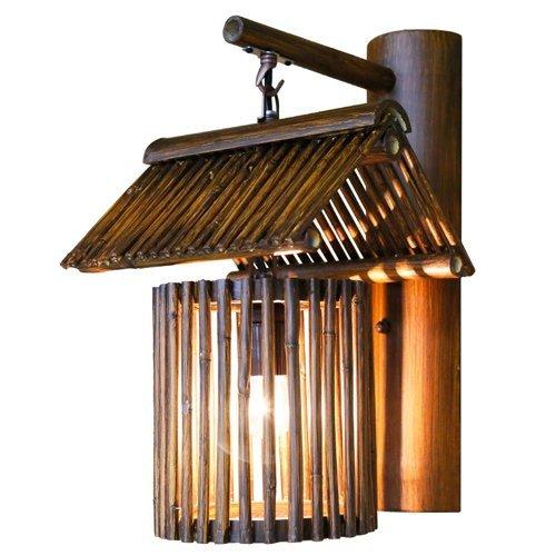 Xiao Fan ▶ * American Country Bamboo Wandleuchte Antikes handgemachtes Bambus Weben Wandleuchte Wandlampen für Restaurant Gang Bar Klassische Cafe Bambus Möbel mit E27 Sockel (Farbe: Stil A) ◀