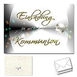 DigitalOase 2 Einladungskarten zur Kommunion - Glückwunschkarten Geburtstagskarten 2 Klappkarten