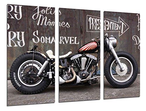 Quadro su Legno, Moto Custom Vintage, Moto d'Epoca, 97 x 62cm, Stampa in qualita Fotografica. Ref. 26471