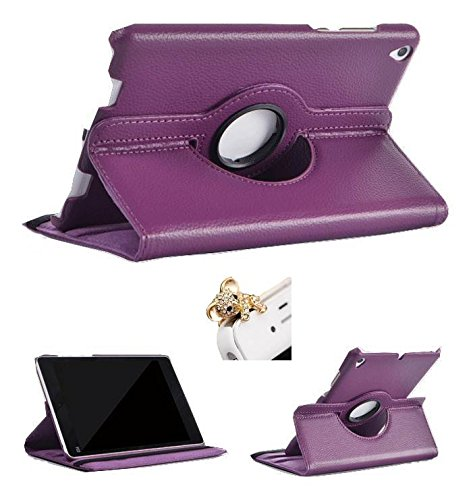 ProElite (TM) 360 Degree Rotatable Flip Case cover for Xiaomi Mi Pad (Purple) with 3.5 mm Bear shaped headphones Dust Plug