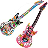 com-four Las Guitarras inflables 2X en el Estilo Hippie se Ven como un Accesorio Divertido - Guitarra de Aire Carnaval, Carnaval o Halloween [la selección varía] (Air Guitar - 2 Piezas)