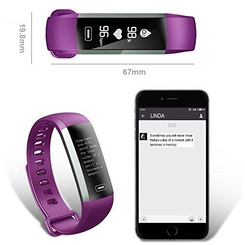 Kingdom GBTM FitCloud Pro Smart Watch Armband. Fitness-Armband - Puls, Blutdruck, Luft, Schrittzähler, Schlafüberwachung, Wetter für iOS und Android, violett