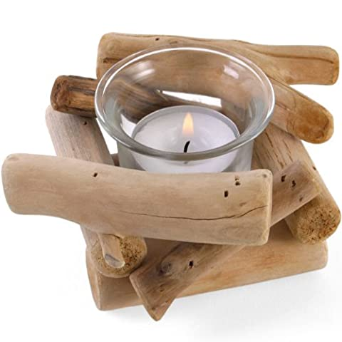 Driftwood Tealight Candle Glass Holder 11 cm-with