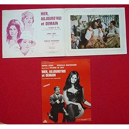 Dossier de presse de Hier, aujourd'hui et demain (1963) - 24 x31 cm, 4 p – Film de Vittorio de Sica avec Sophia Loren, Mastroianni – Photo couleurs + affiche 24x31 cm avec photos et scénario