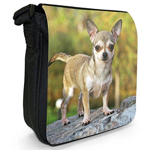 Messicano Taco Bell cane Chihuahua Piccolo Nero Tela Borsa a tracolla, taglia S Chihuahua Standing On Rocks