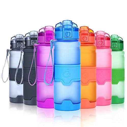 Grsta Sport Trinkflasche, 1000ml/32oz - BPA frei Tritan Kunststoff Wasserflasche, Auslaufsicher Sporttrinkflaschen für Laufen, Yoga, Fahrrad, Kinder Schule, Wasser Flaschen mit Sieb, Ein Klick Geöffnet(Blau) (Wasser Fahrrad)