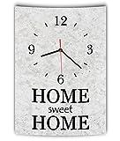 LAUTLOSE Designer Wanduhr mit Spruch Home sweet Home grau Betonoptik modern Deko Schild Abstrakt Bild 41 x 28cm