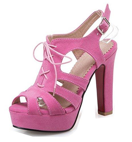 Aisun Femme Fashion Découpe Lacets Boucle Sandales Rouge