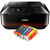 Canon Pixma MX725 MX-725 All-in-One Farbtintenstrahl-Multifunktionsgerät (Drucker, Scanner, Kopierer, Fax, USB, WLAN, LAN, Apple AirPrint) Schwarz + 5er Set IC-Office XL Tintenpatronen 550XL 551XL