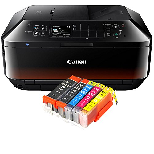 Canon Pixma MX925 MX-925 All-in-One Farbtintenstrahl-Multifunktionsgerät (Drucker, Scanner, Kopierer, Fax, USB, WLAN, LAN, Apple AirPrint) schwarz + 5er Set IC-Office XL Tintenpatronen 550XL 551XL - Canon Schwarz Office Kopierer