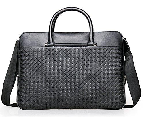 Xinmaoyuan Männer Handtaschen Leder Business Men Handtasche Querschnitt Umhängetasche Aktentasche Multi-Compartment Woven Hand Tasche, Schwarz Schwarz