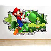 J37Super Mario Bros Yoshi Kart para pared Póster 3d arte pegatinas vinilo habitación (grande (90x 52cm))