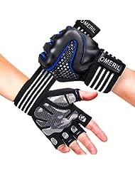 OMERIL Trainingshandschuhe Fitness Handschuhe mit Handgelenkstütze, Voll-Schutz & Rutschfest GYM Handschuhe Sporthandschuhe für Kraftsport, Bodybuilding, Fitnesstraining, Bergsteigen, für Damen Herren
