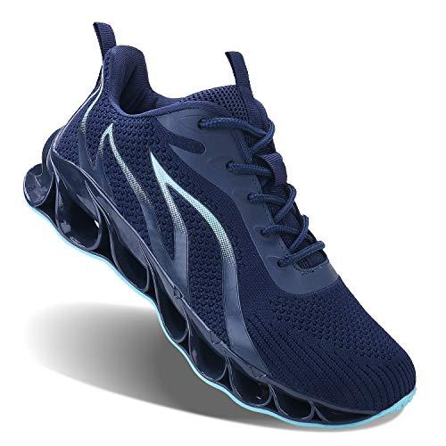 JSLEAP Herren Laufschuhe Fitness straßenlaufschuhe Sneaker Sportschuhe atmungsaktiv rutschfeste Mode Freizeitschuhe 45 Dunkelblau