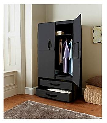 CRAVOG Double Canvas Wardrobe Cupboard with Opening Doors Drawer - inexpensive UK light store.