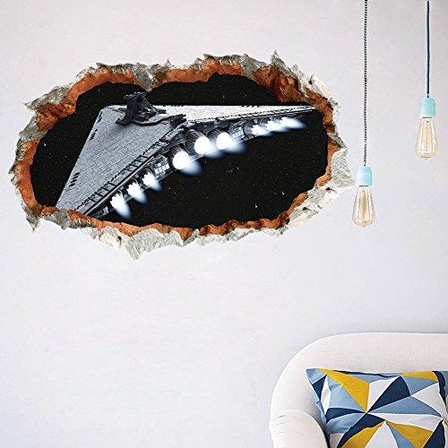 herzii Star Wars Stil 3D Wandtattoo UFO Vinyl Aufkleber Art Aufkleber Boy 's Schlafzimmer DIY Dekoration